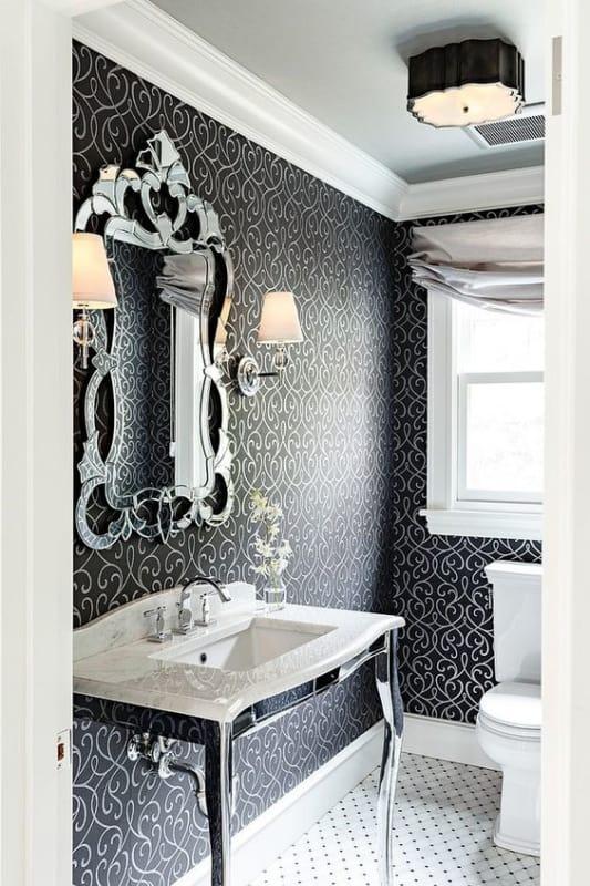 Lustre para lavabo preto com espelho veneziano