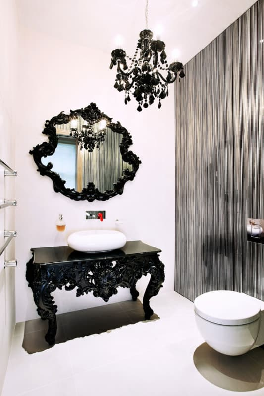 Lustre preto de cristal para lavabo