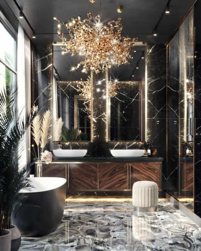 Lustres extravagantes para banheiros luxuosos