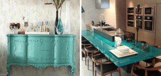 Móveis tampo de mesa em laca verde água 51