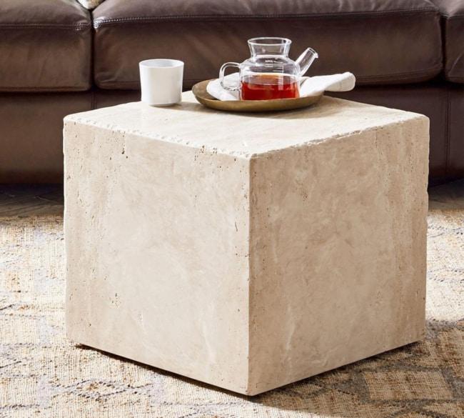 Mesa de centro de mármore travertino moderna