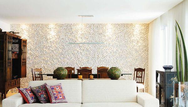 Pedra portuguesa na sala de estar