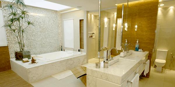Pedra portuguesa no banheiro