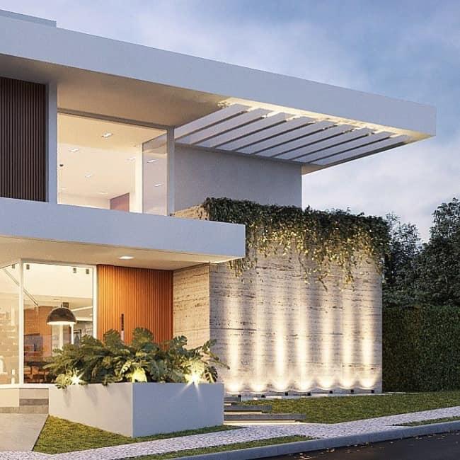 Projeto de fachada com travertino por Farinazzo Arquitetura