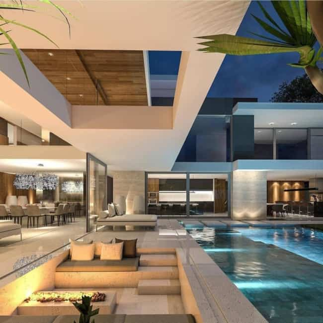 Projeto de piscina com mármore travertino