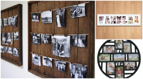 Quadros de fotos de variados formatos e materiais
