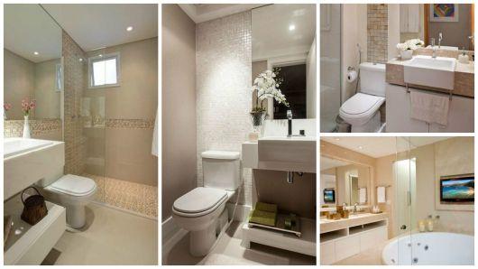 Quatro opções de banheiros decorados com a cor pérola