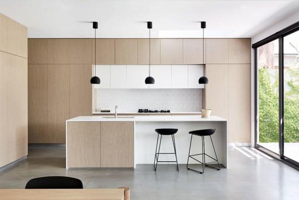 Revestimento para cozinha minimalista com cor pérola