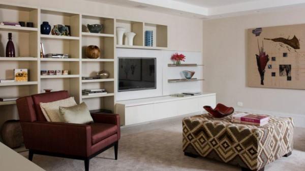 Sala moderninha com as paredes peroladas