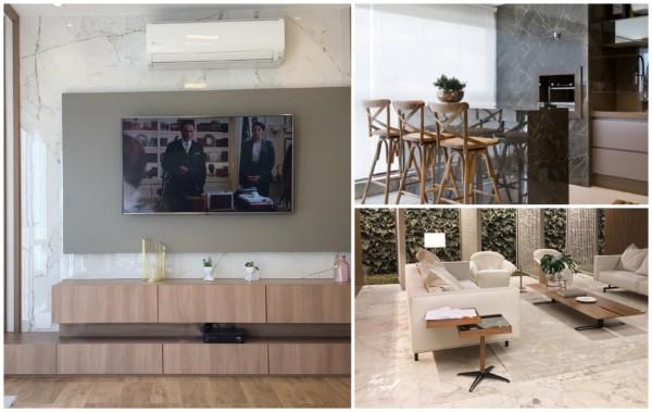 Salas e cozinhas decoradas com porcelanato marmorizado