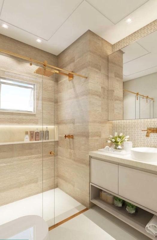 banheiro amadeirado branco minimalista