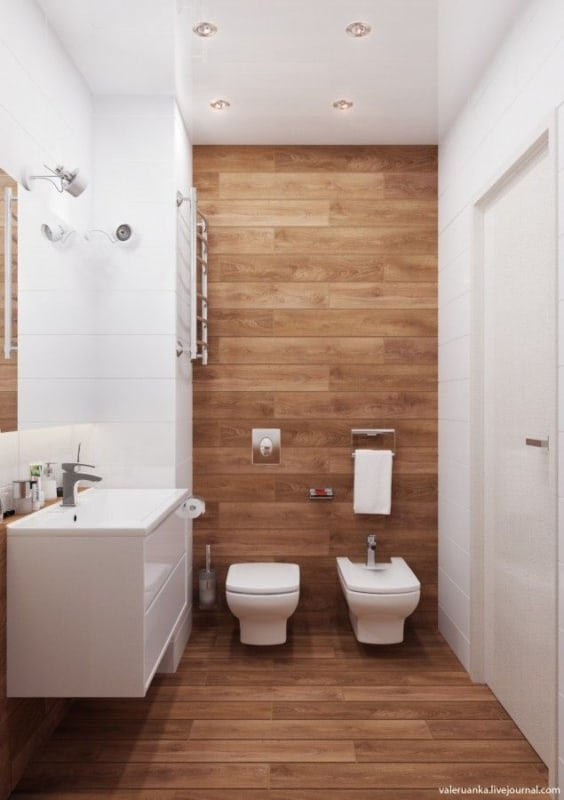 banheiro amadeirado branco pequeno