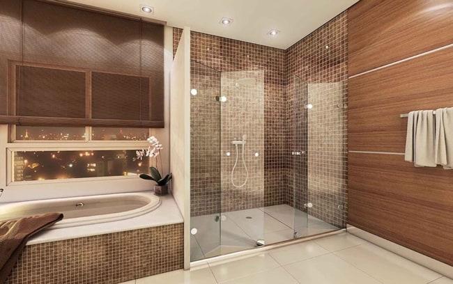 banheiro amadeirado com pastilha grande