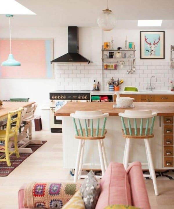 banquetas para cozinha em cores pasteis