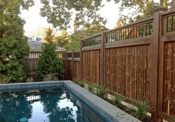 cerca de bambu para piscina