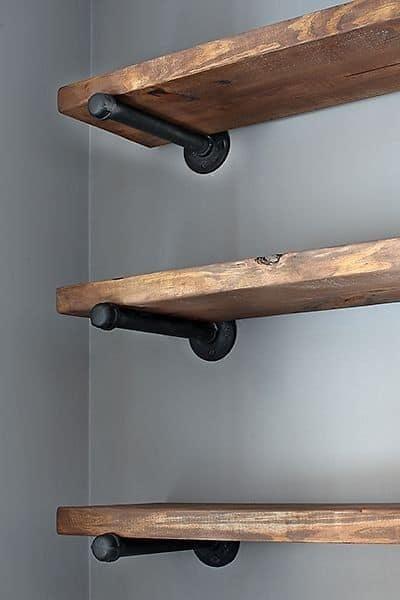 estilos de prateleira de madeira de demolição