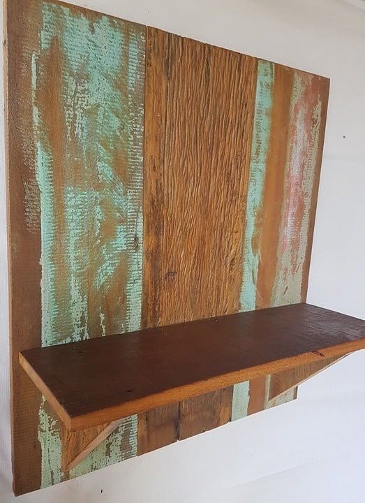 ideia de prateleira de madeira de demolição