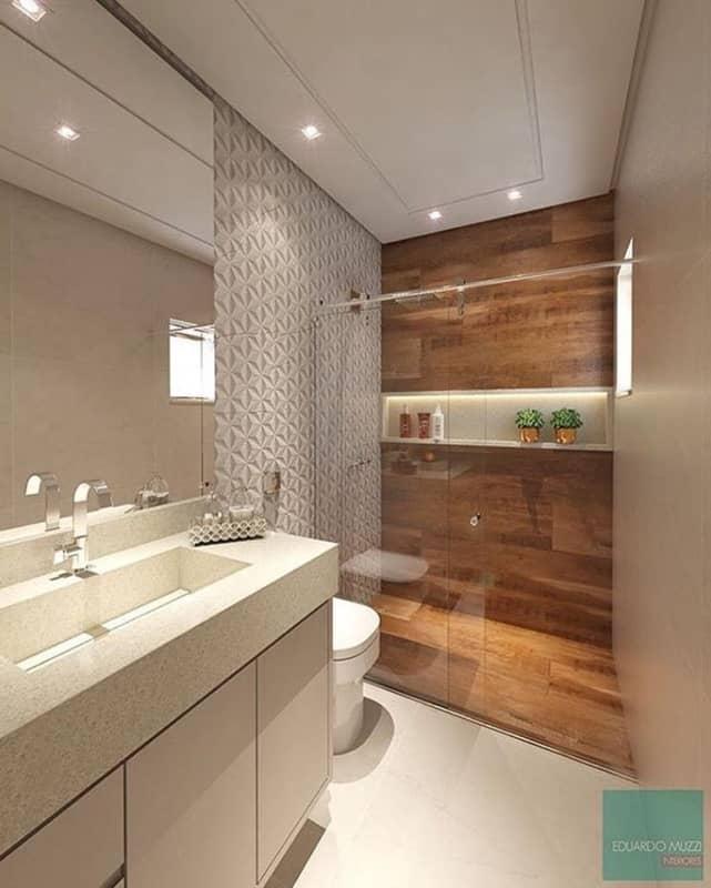 ideias de banheiro amadeirado com nicho