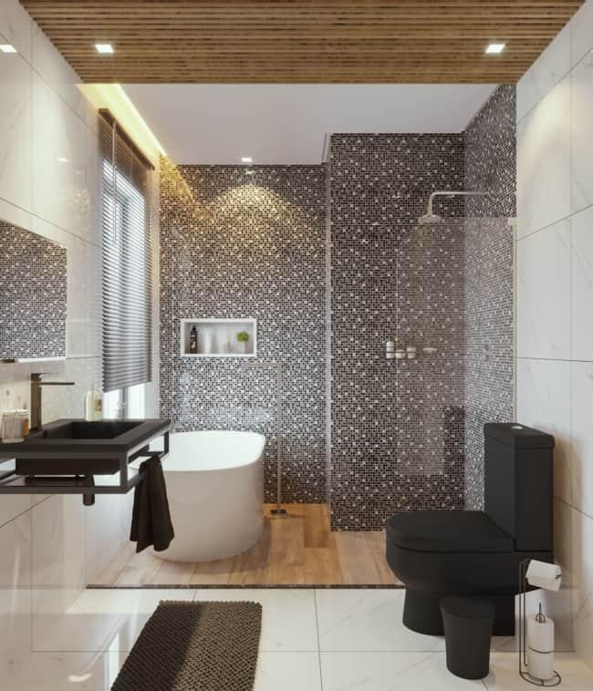 ideias de banheiro amadeirado com pastilha