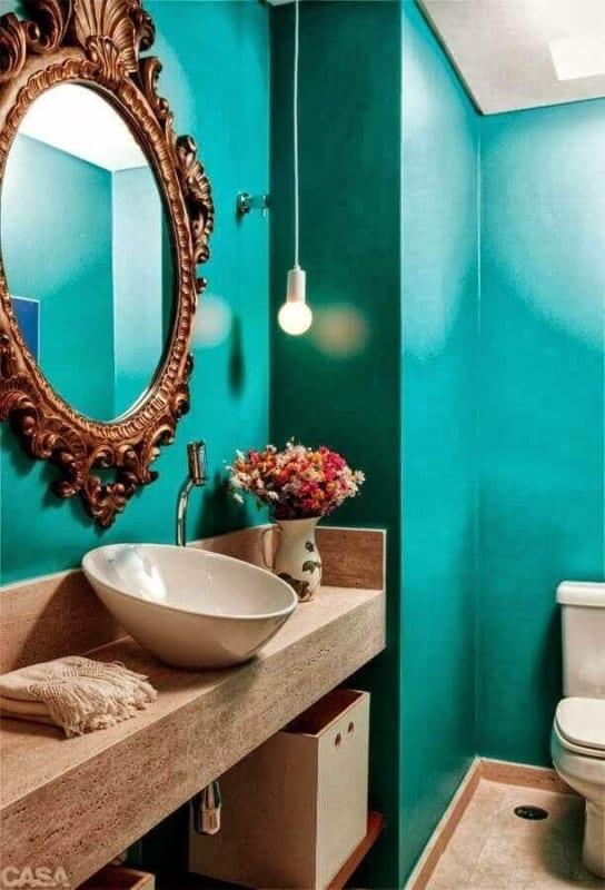 lavabo verde água com espelho 45