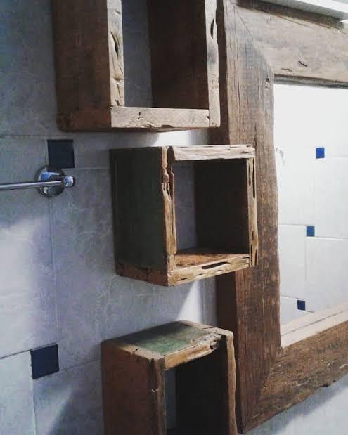 nicho de madeira de demolição