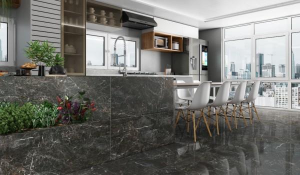 porcelanato marmorizado cinza