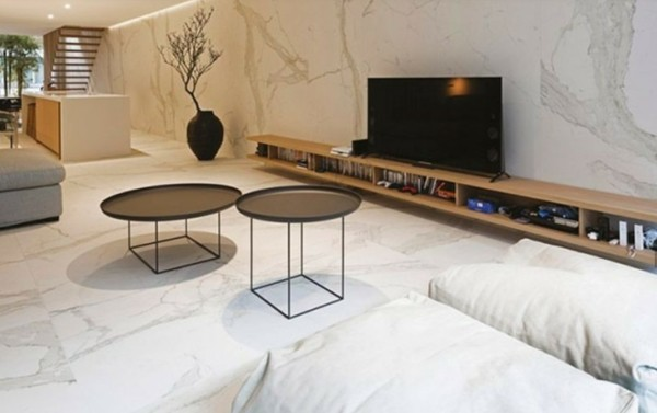 porcelanato marmorizado na sala