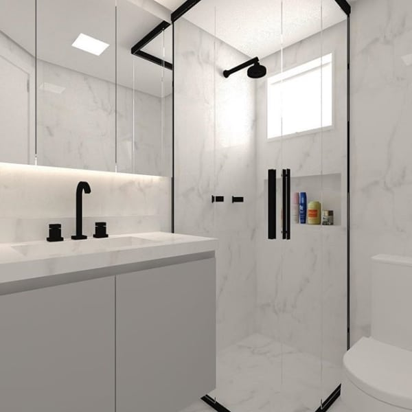 porcelanato marmorizado no banheiro