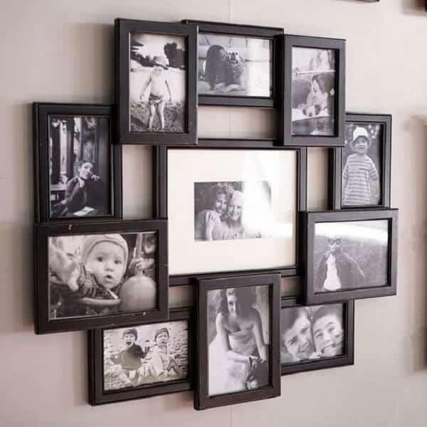 Quadro de fotos em preto e branco