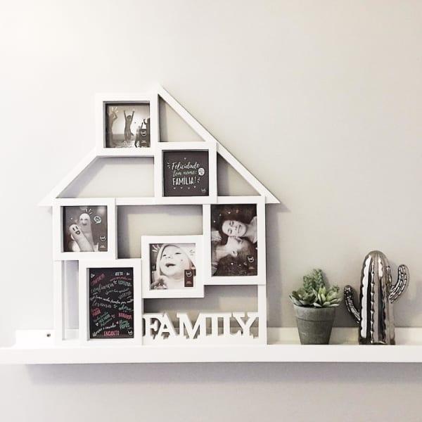quadro de fotos em formato de casa