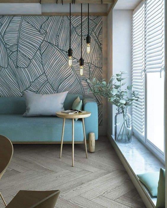 sala cinza com sofá verde claro 12