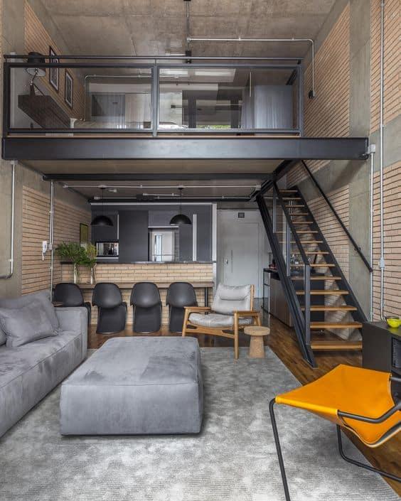 loft com decoração industrial