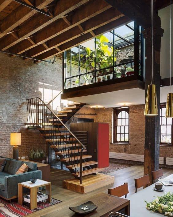 decoração industrial com parede de tijolinhos