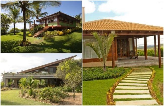 jardins de casas de campo