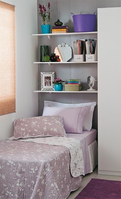 decoração quarto com prateleiras