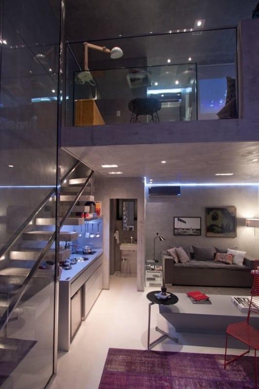 apartamento pequeno com decoração futurista
