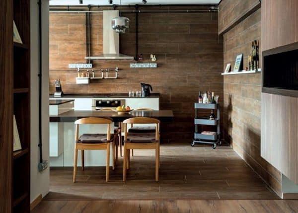 cozinha com porcelanato de madeira