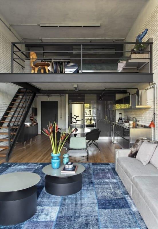 2 decoração loft industrial com mezanino