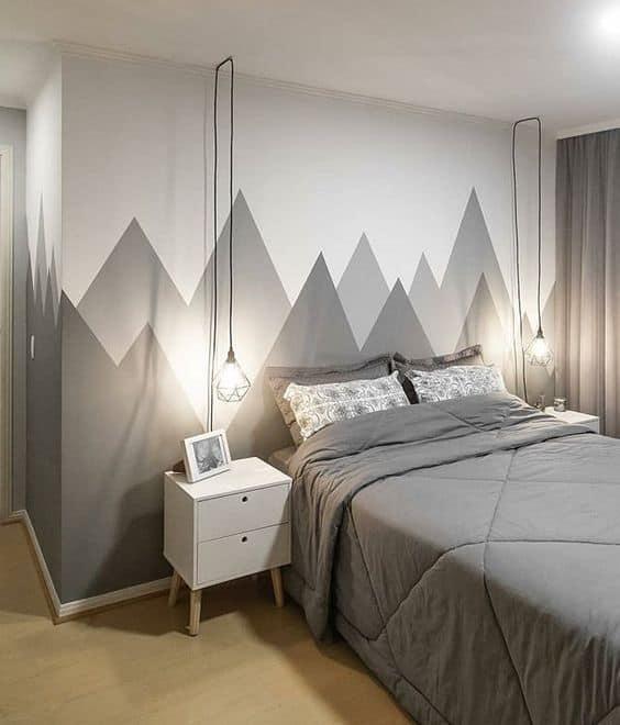 quarto com decoração cinza