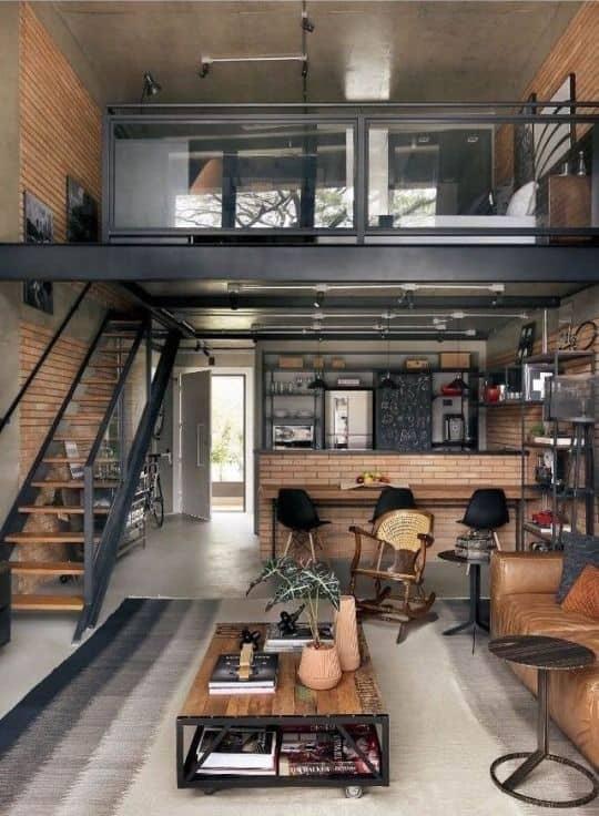 decoração industrial ambientes integrados