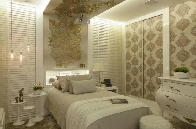 quarto feminino pequeno e de luxo