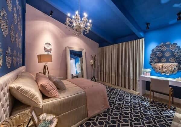 quarto de luxo rosa e azul