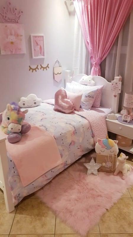 decoração rosa quarto simples