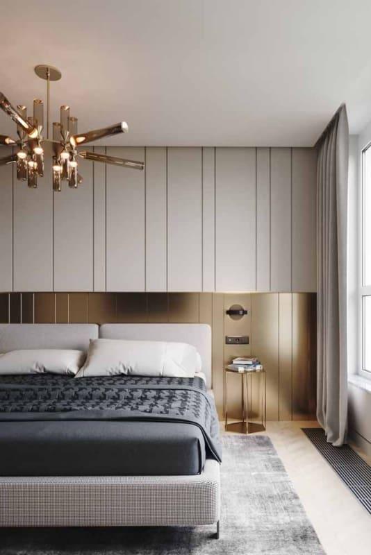 quarto moderno com decoração dourada