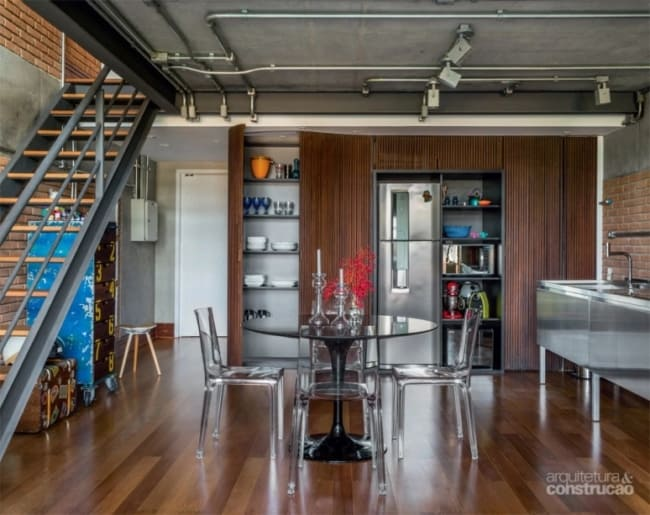 cozinha com decoração industrial moderna