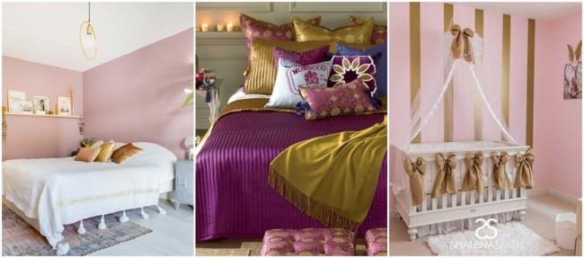 decoração em dourado e rosa