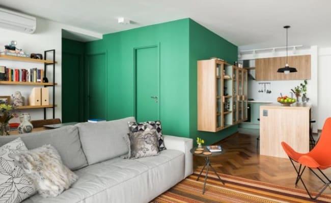 Apartamento com sala verde