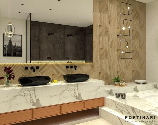 Banheiro com lavatório e banheira em porcelanato