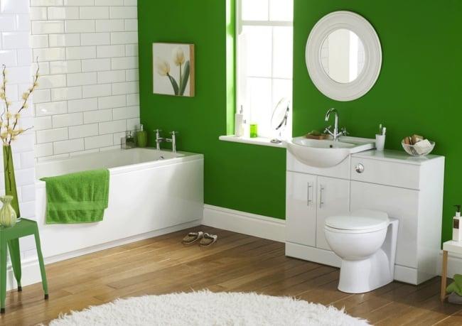 Banheiro decorado em verde limão