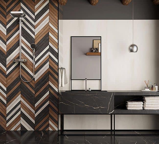 Banheiro lindo com bancada de porcelanato